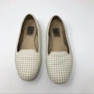EUC UGG Slip ons white with silver tone studs 8